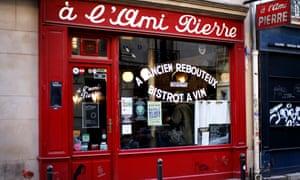 Exterior daytime shot of L'Ami Pierre restaurant, Paris, France.