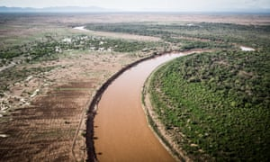 An aerial view of the Omo River in the district of Nyangatom