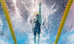 Australia Ariarne Titmus competing freestyle on the women's 400 meters at the World Cup in 2019 in Gwangju, South Korea Cup.