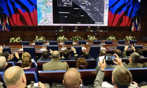 Russia's top military officials hold a press conference on the fight against terrorism in Syria at the National Defence Control Centre of the Russian Federation in Moscow