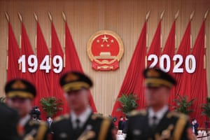 Members of a Chinese military band inside the Great Hall of the People in Beijing on the eve of China's national day.