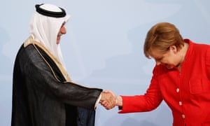 Merkel with Saudi Arabia's finance minister Ibrahim bin Abdulaziz Al-Assaf.
