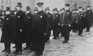 Police in Seattle during the 1918 Spanish flu pandemic.