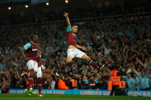 The Boleyn Ground goes wild as Winston Reid celebrates.