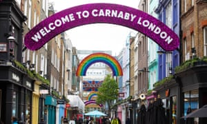 A brand-new rainbow installation in Carnaby Street, as shops reopen.
