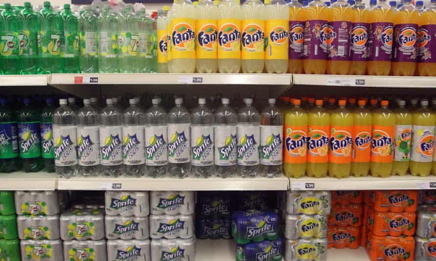 Supermarket shelves filled with soft drink bottles and cans