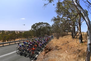 The peloton in Birdwood during stage two of Women's Tour Down Under