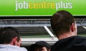People outside a Jobcentre Plus