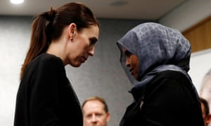 New Zealand's prime minister Jacinda Ardern visits meets one of the first responders who was at the scene of the Christchurch attack.