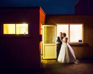 Katrina and Kyle take a moment together at the end of their wedding reception, Aspatria, Cumbria, 2018