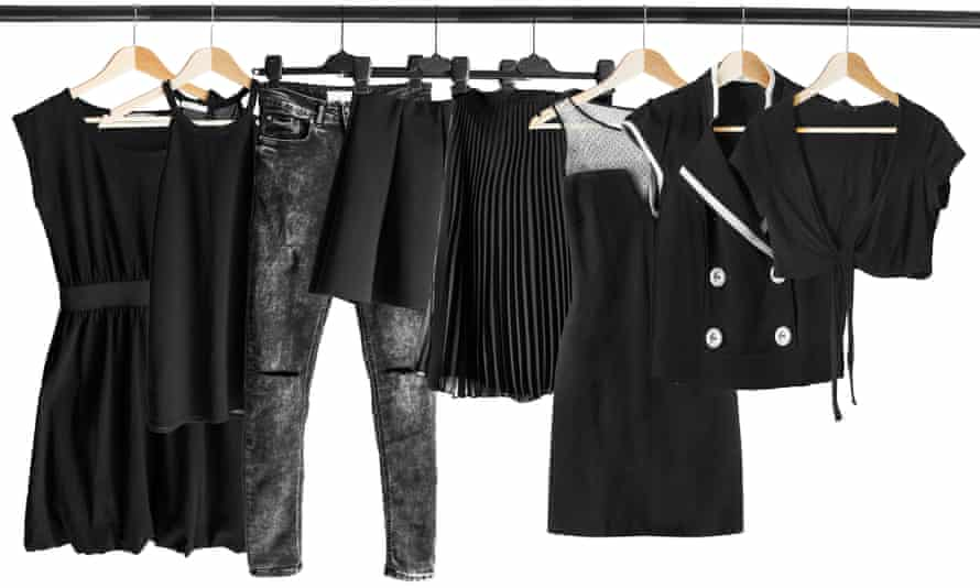 Black clothes on clothes rack