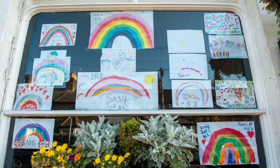 Rainbow drawings in the Duke of Connaught pub in Windsor, Berkshire.