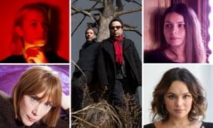 Spirit of Bobbie … Mercury Rev, centre, surrounded by guest vocalists: top left Phoebe Bridgers, top right Hope Sandoval, bottom right Norah Jones and bottom left Beth Orton.