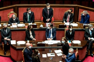 Italy's new Prime Minister Mario Draghi addressing the Senate
