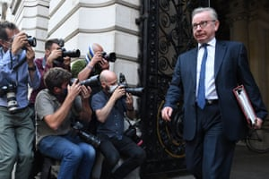 London, England: The chancellor of the duchy of Lancaster, Michael Gove, leaves the Foreign and Commonwealth Office following a cabinet meeting.