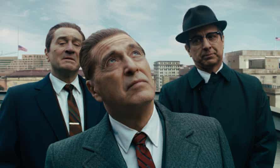 From left: Robert De Niro, Al Pacino and Ray Romano in The Irishman.