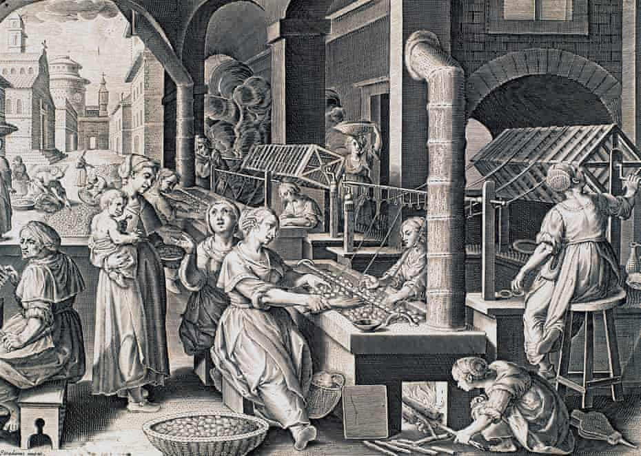 Vermis sericus, women spinning silk and heating silkworms on the fire, engraving by Stradanus (1523-1605). Italy, 16th century. (Photo by DeAgostini/Getty Images)