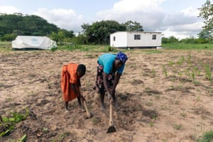 Cotilda Shupikai Ngwengwe, left, helps her mother Gladys Chiremba to weed her fields in Buhera