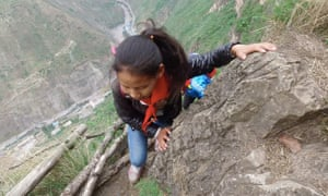 There are 17 vine ladders on the 800-metre-high way home, but the most dangerous part is a path on the cliff without a vine ladder.