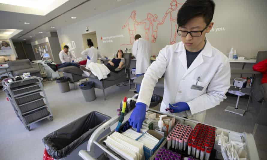 Medical assistants attend to people donating blood in Seattle this week.
