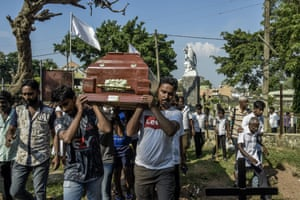 A funeral in Colombo last week. Due to the devastating force of the blasts on their victims, the final death toll – believed to be in excess of 253 – has yet to be announced.