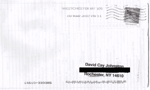 The envelope in which pages from Donald Trump's 2005 federal tax return were sent to the journalist David Cay Johnston. The package was postmarked on 9 March in Rochester, New York.