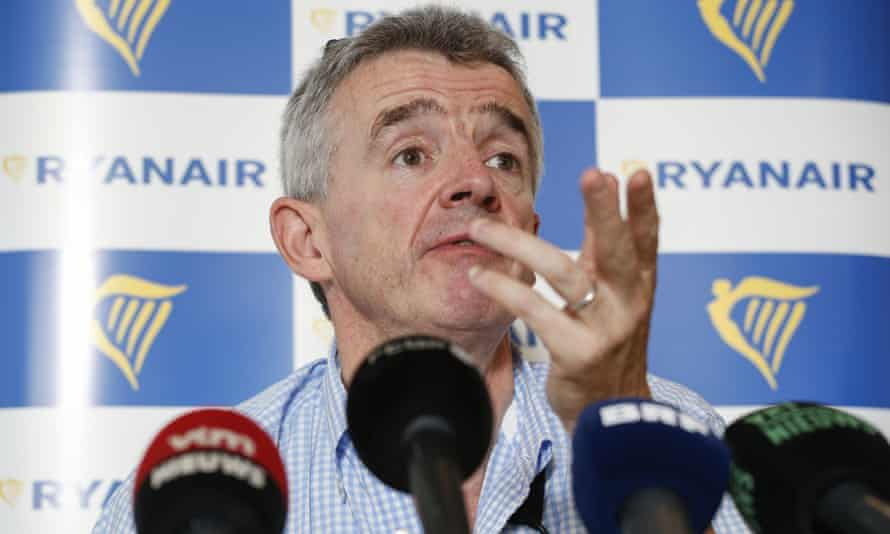 Ryanair boss Michael O'Leary gives a press conference in Brussels.