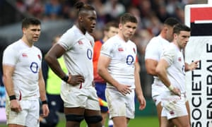 England players show the strain in Paris on Saturday during the humbling Six Nations defeat to France.
