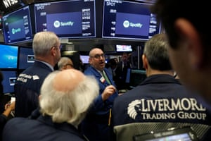 A price update is given on shares of Spotify before the company's direct listing on the floor of the New York Stock Exchange.