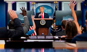 TOPSHOT-US-POLITICS-TRUMPTOPSHOT - US President Donald Trump speaks to the press in the Brady Briefing Room of the White House in Washington, DC, on July 28, 2020. (Photo by JIM WATSON / AFP) (Photo by JIM WATSON/AFP via Getty Images)