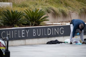 Officers gather evidence after a security incident at ASIO headquarters, the Ben Chifley Building in Canberra this afternoon. Wednesday 9th September 2020.