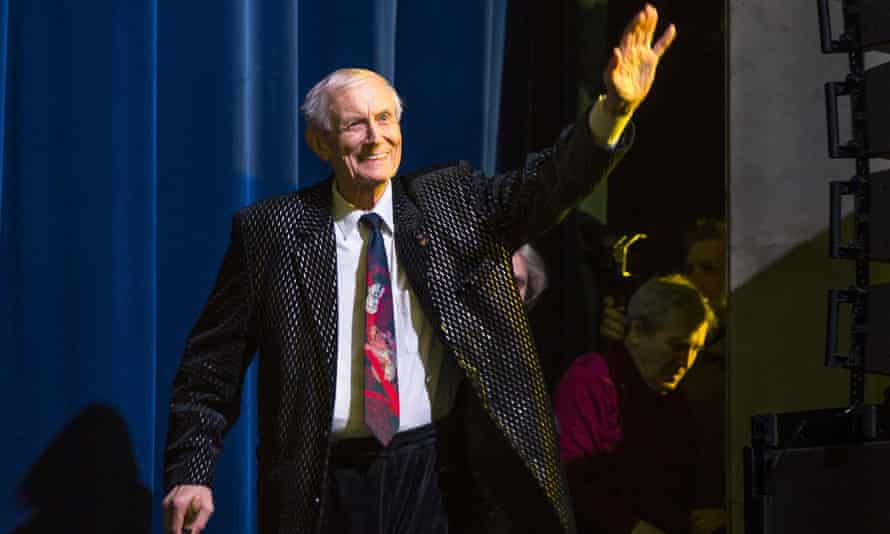 In a photograph from 6 January 2015, Yevgeny Yevtushenko arrives at a performance in Moscow.