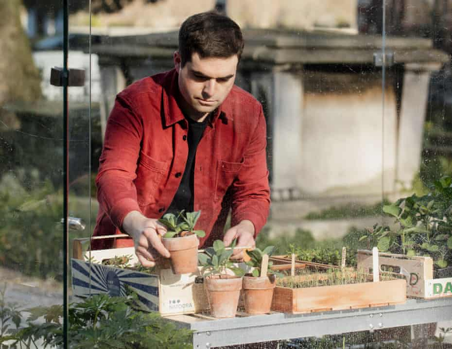 Matt Collins in the greenhouse at the Garden Museum in London