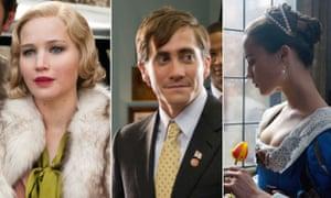 Jennifer Lawrence in Serena, Jake Gyllenhaal in Accidental Love and Alicia Vikander in Tulip Fever.