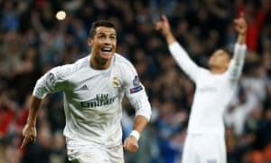 Real Madrid's Cristiano Ronaldo celebrates scoring their third goal and his hat-trick
