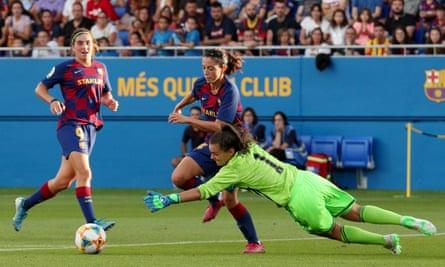 Barcelona's Aitana Bonmatí scores against CD Tacón in Spain's Primera Division.