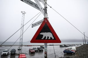 A warning sign close to a camping ground where a man was killed by a polar bear at Longyearbyen on the Svalbard archipelago, Norway