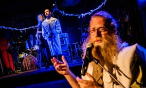 Songs of loss and longing … Mary Fay Coady and Eric Da Costa as the lovers, with 'erratic narrator' Ben Caplan, foreground.