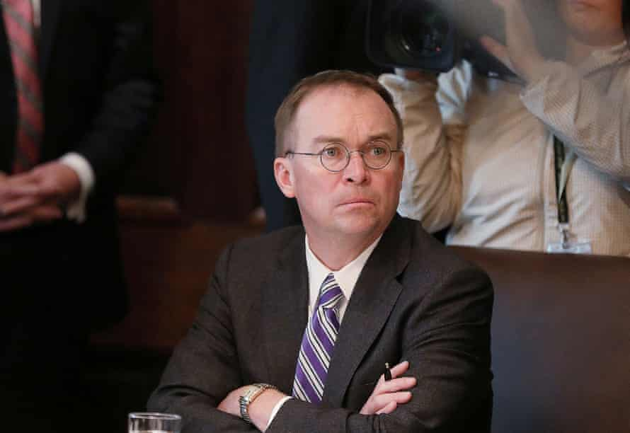 Mick Mulvaney in October. Mulvaney himself said in a press conference the White House had conditioned military aid on investigations in Ukraine. He later denied he had said that.