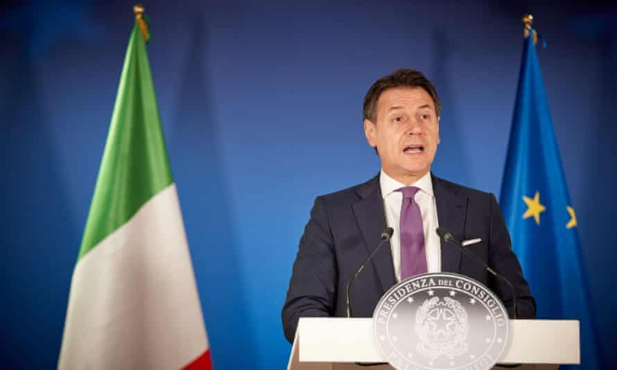 The Italian prime minister, Giuseppe Conte, attends a press conference after the EU special summit in Brussels.