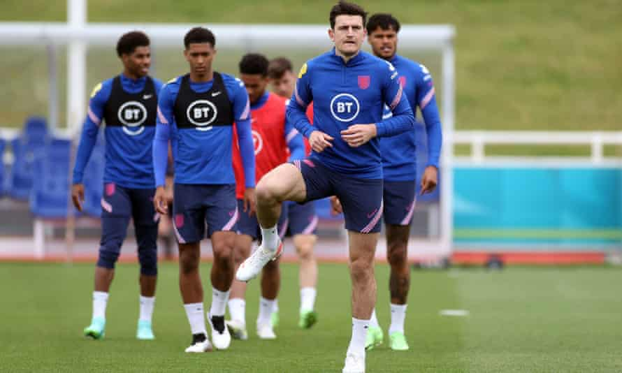 Harry Maguire takes part in England's training session at St George's Park on Thursday.