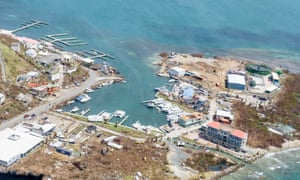 A handout picture released by the British Ministry of Defence shows an aerial view of damage caused by Hurricane Irma in Road Town, on Tortola.