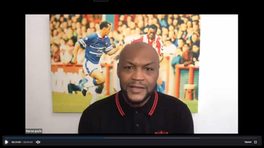 Marcus Gayle, the former Brentford and Wimbledon forward, addresses his online audience.