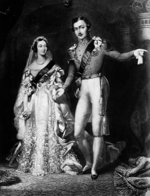 Queen Victoria and Prince Albert on their return from the marriage service at St James's Palace, London (original artwork: engraved by S Reynolds after F Lock).