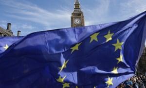 EU flag in Parliament Square.