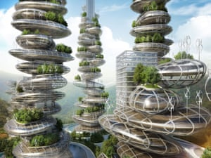 Artist's impression of 'farmscrapers', designed by architect firm Vincent Callebaut.