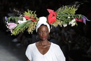 A model takes part in São Paulo fashion week