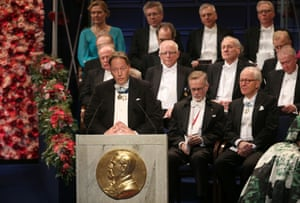 Horace Engdahl giving a speech during the Nobel prize ceremony in Stockholm in 2016.