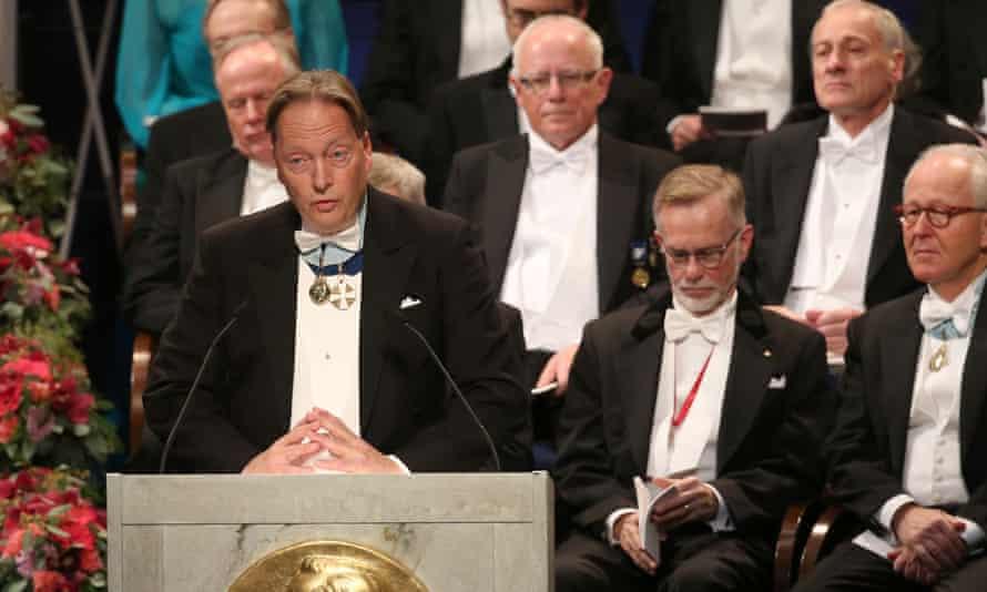 Horace Engdahl speaks at a Nobel prize ceremony in 2016.