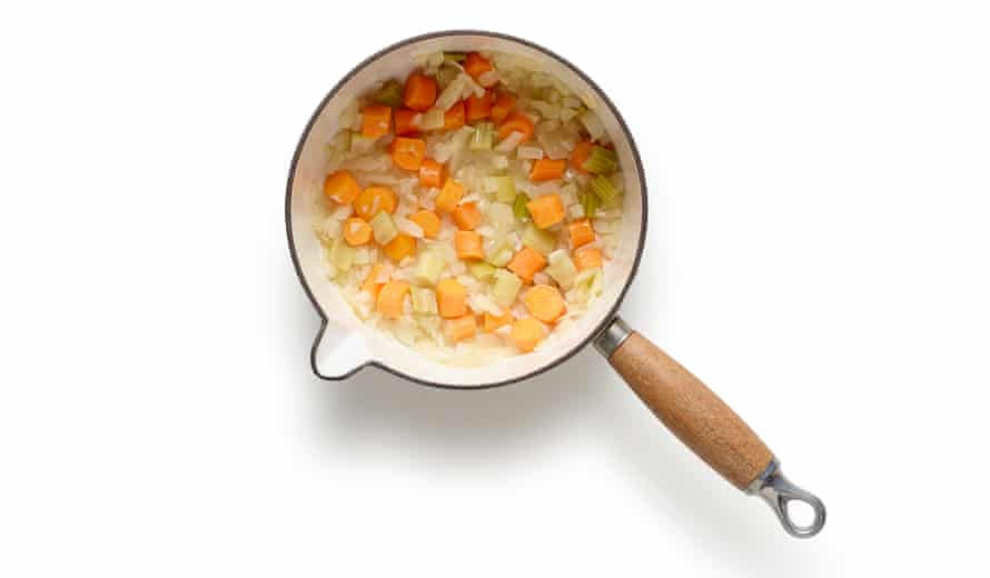 Felicity Cloake's summer minestrone. Now add the carrot and celery – stir in the vegetables in the order in which they'll take to cook.